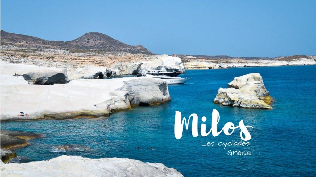 Milos youtube plage falaise blanche mer bleu